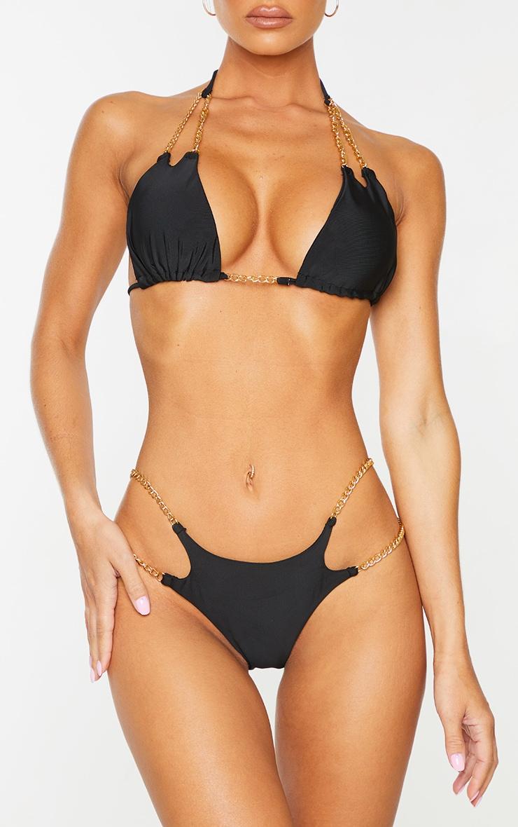 Black Chain Strap Bikini Bottoms 1