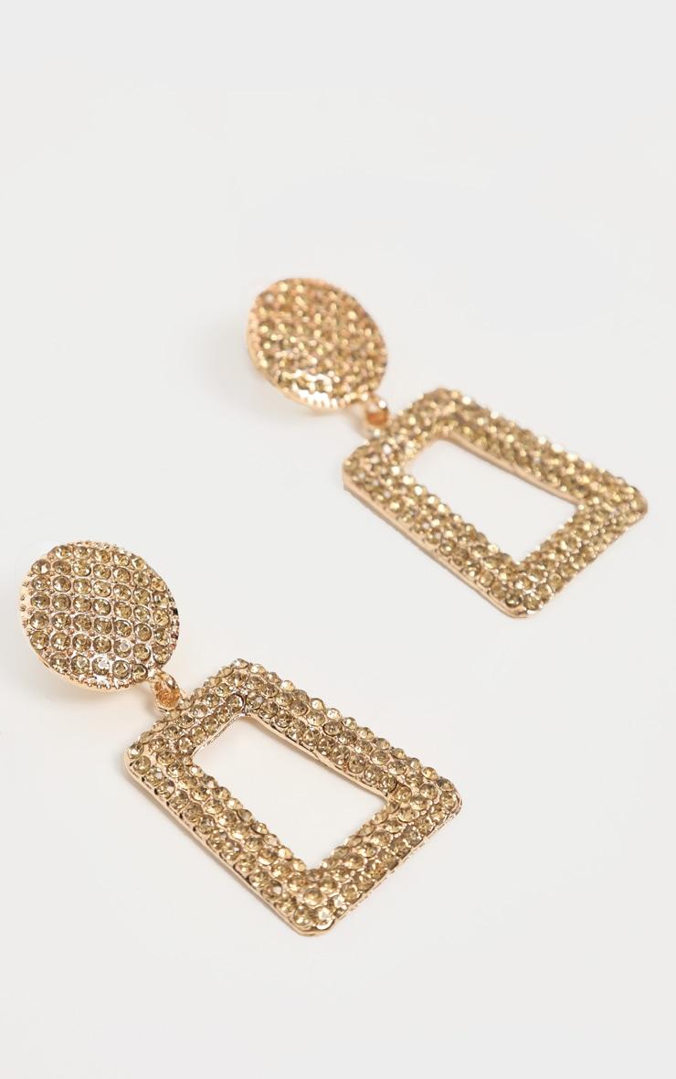 Gold All Over Diamante Door Knocker Earrings 3