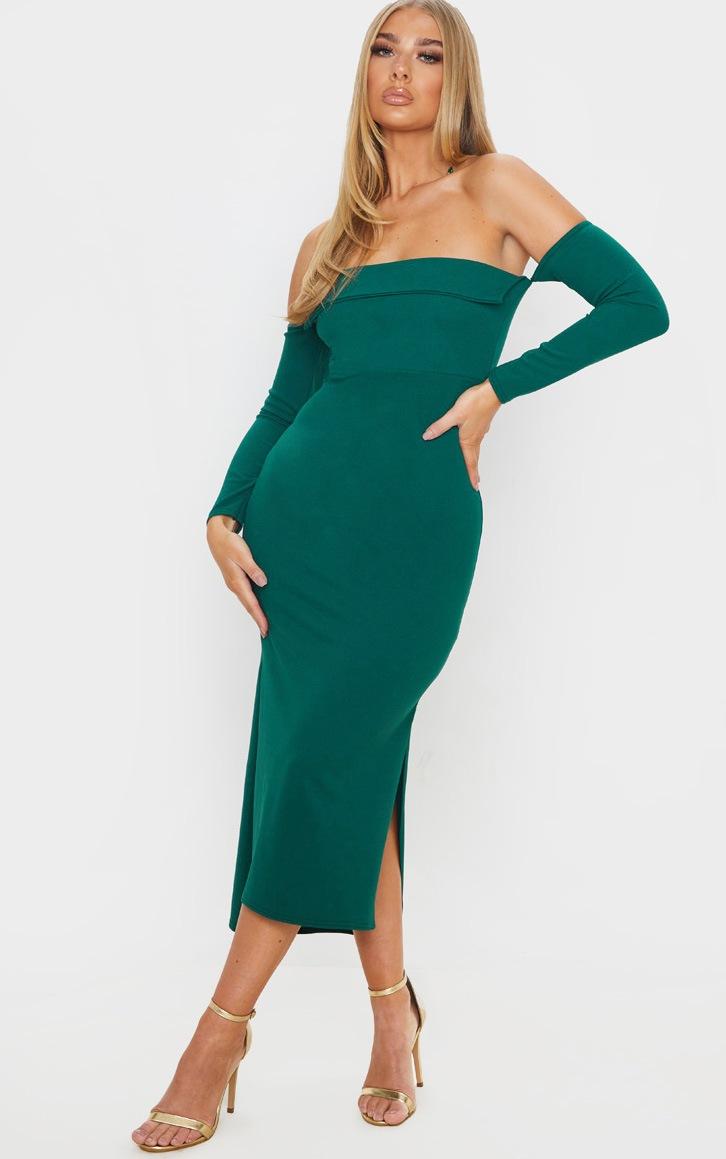 Emerald Green Fold Detail Bardot Midi Dress 4