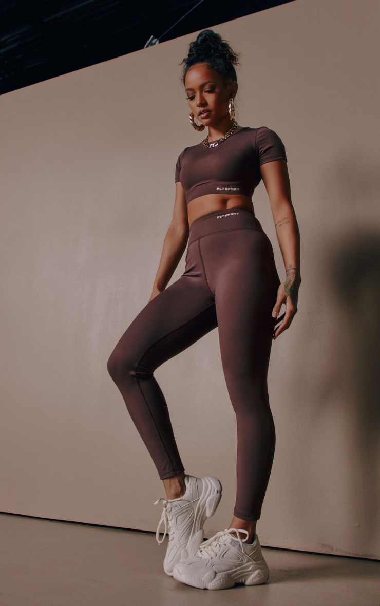 PRETTYLITTLETHING Chocolate Sculpt Luxe Gym Leggings 1