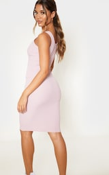 Dusty Lilac Ribbed Scoop Tortoise Shell Button Bodycon Dress 2