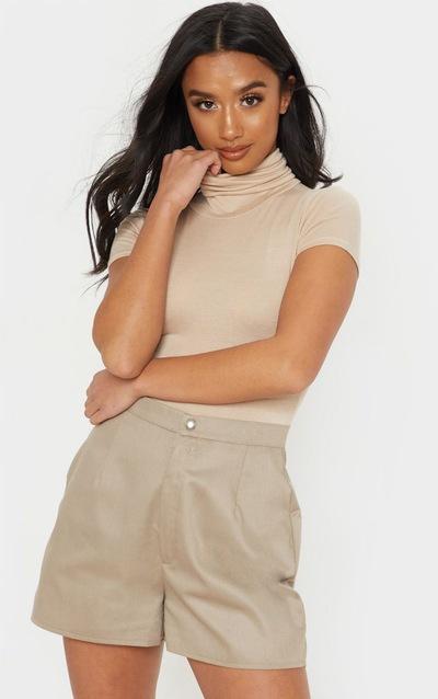 Petite Stone Short Sleeve Basic Roll Neck Bodysuit
