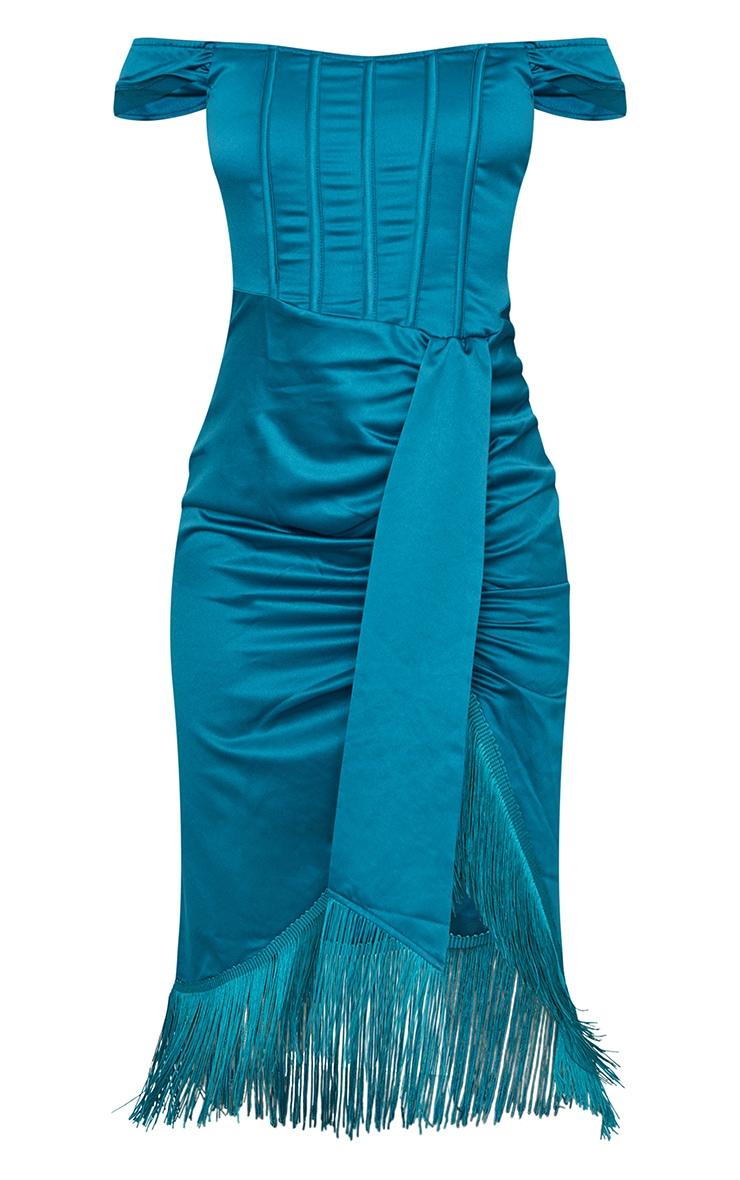 Emerald Green Satin Bardot Tassel Hem Draped Midi Dress 5