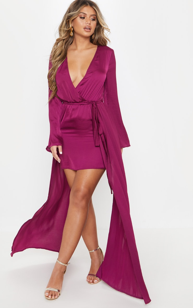 Berry Satin Plunge 2 in 1 Maxi Dress 2