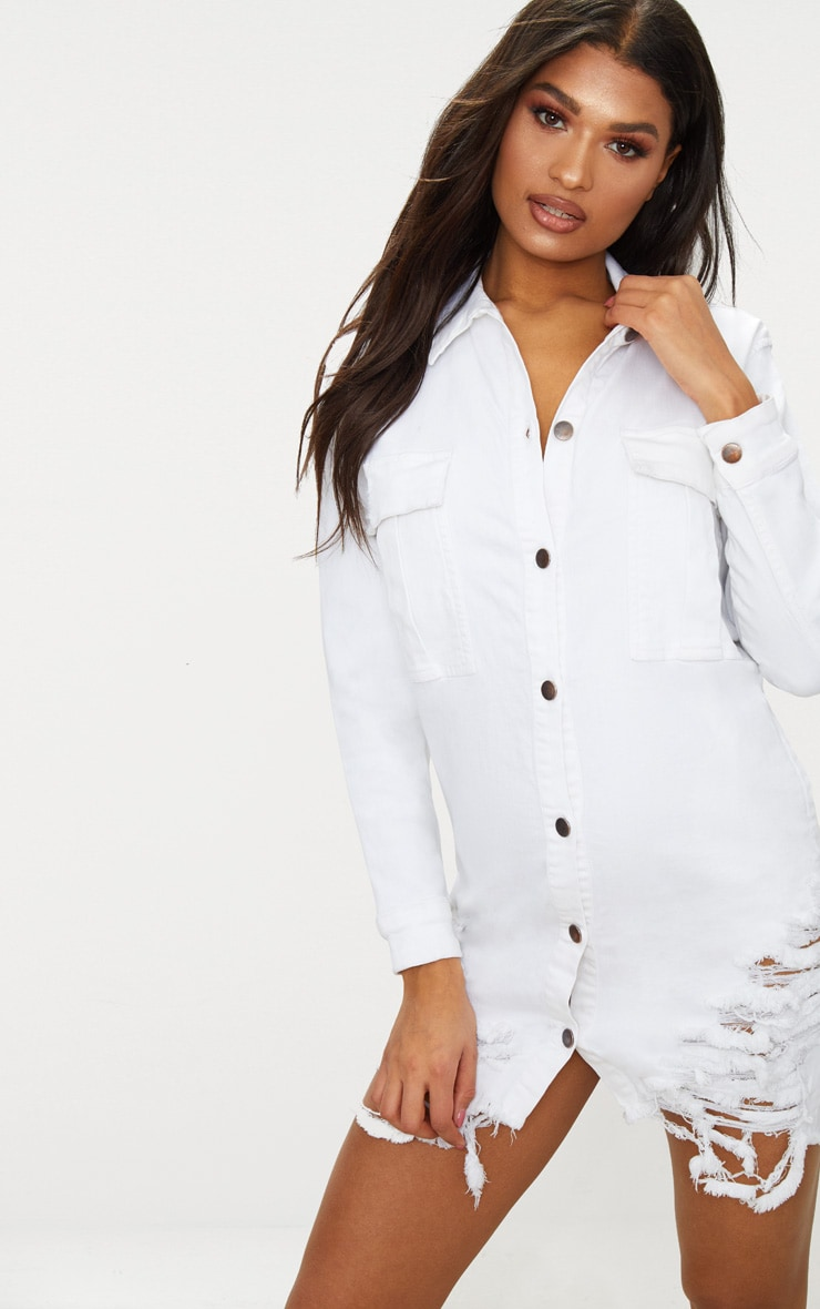 White Super Distressed Denim Shirt Dress 1