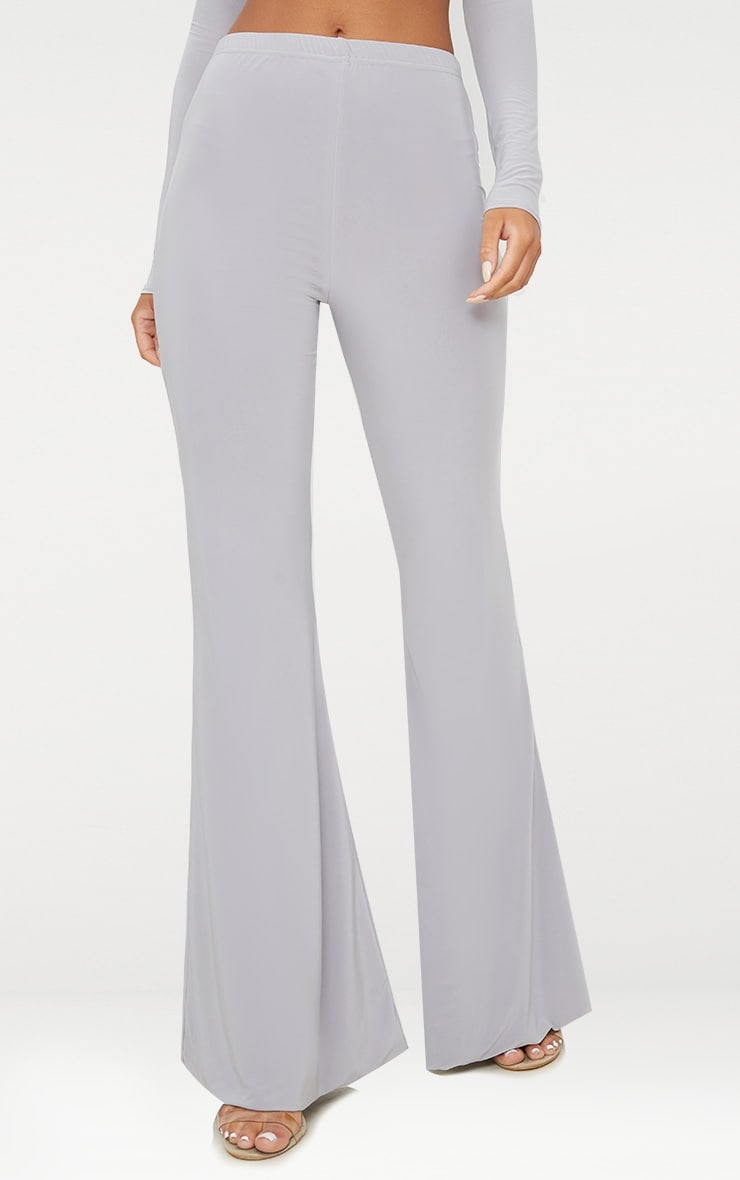 Grey Slinky Double Layered Flared Trouser 2