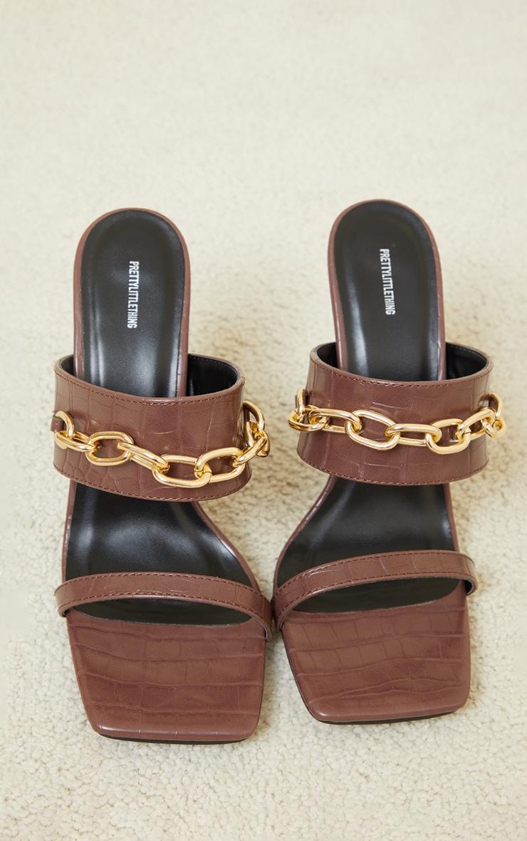Chocolate Croc Pu Double Strap Chain High Heel Mule 3