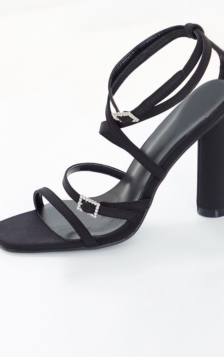 Black Cylinder Heel Diamante Buckle Strappy Sandal 3