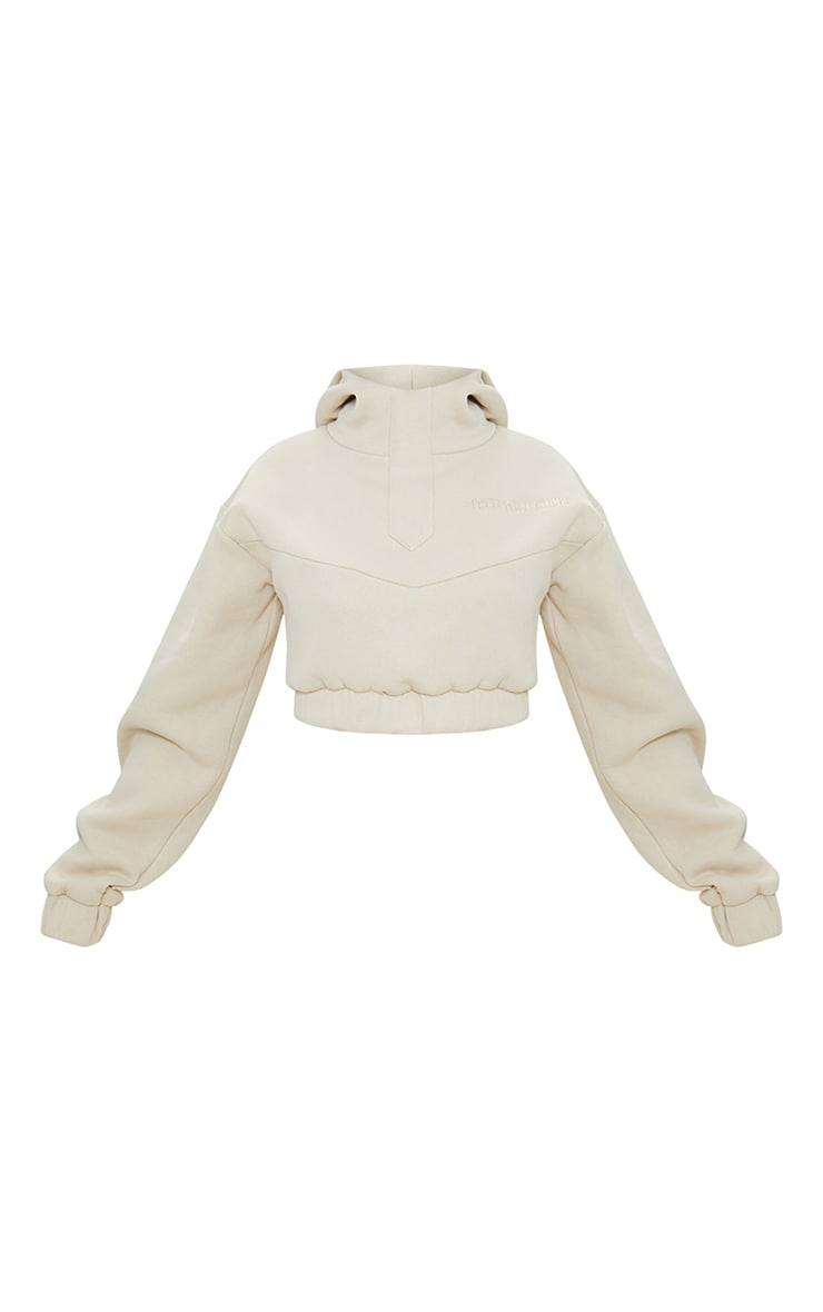 PRETTYLITTLETHING Stone Embroidered Elastic Hem Cropped Hoodie 5