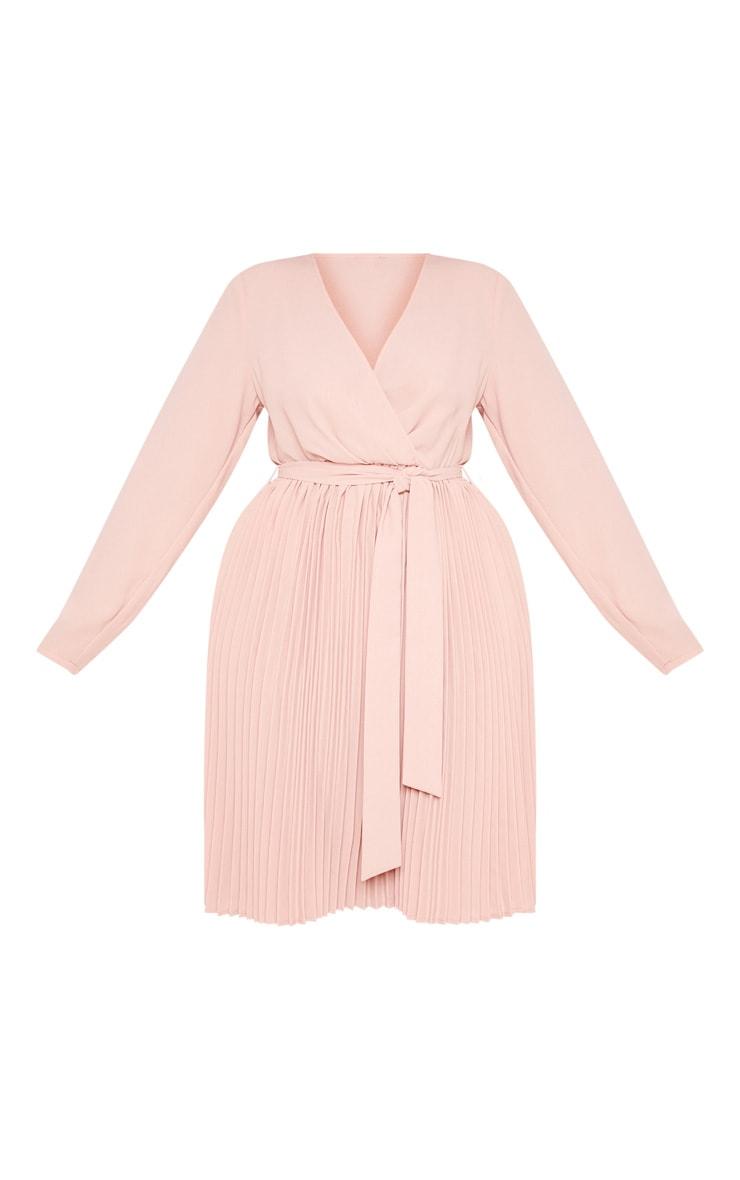 Plus Rose Long Sleeve Pleated Midi Dress 3
