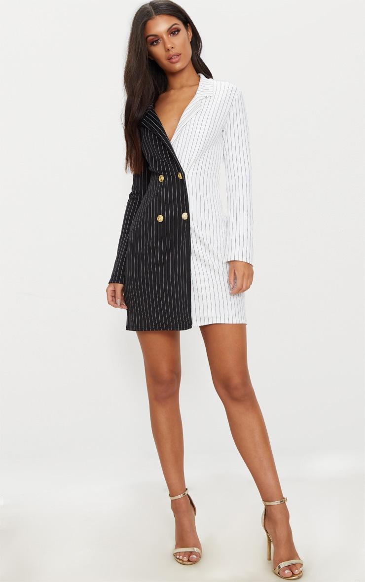 Black Stripe Contrast Detail Blazer Dress 4