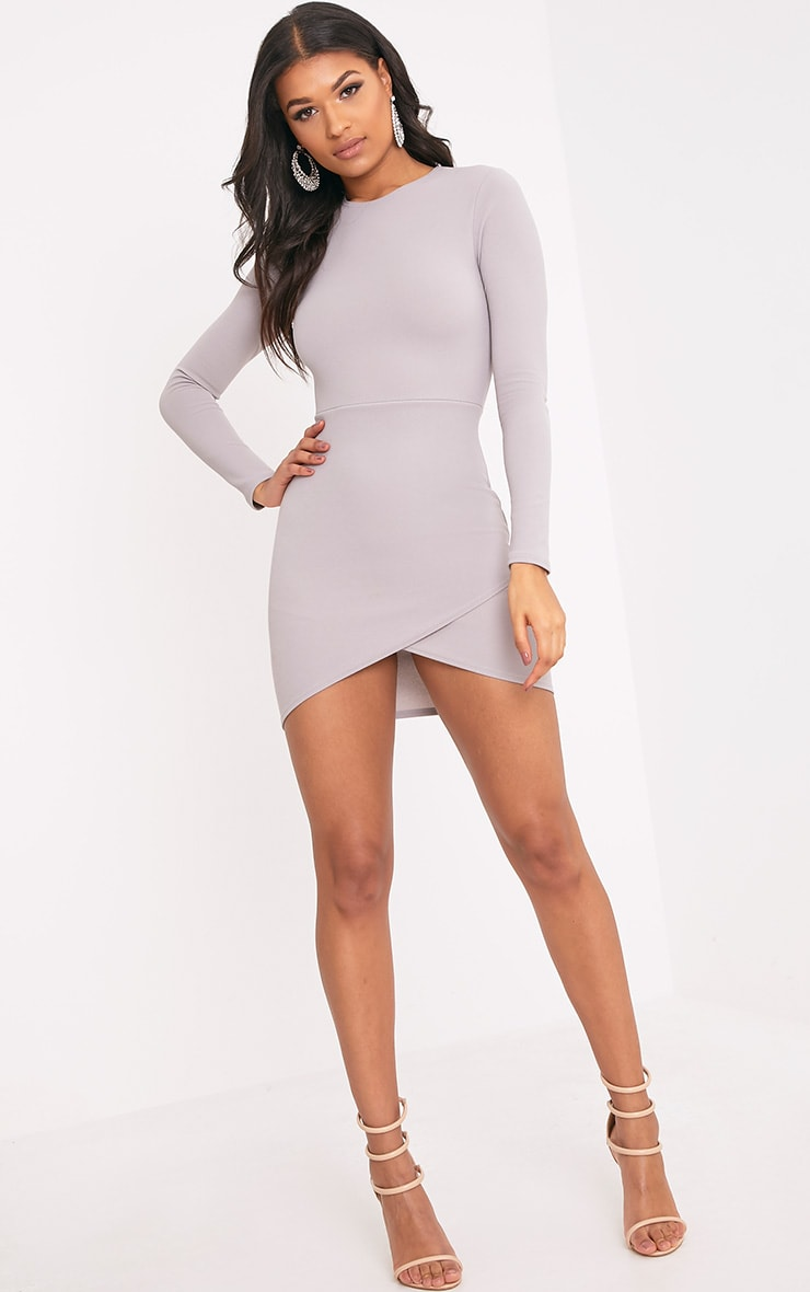 Dove Grey Long Sleeve Wrap Skirt Bodycon Dress 3