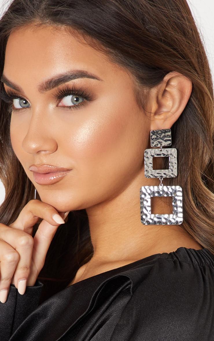 Boucles d'oreilles argentées à triple pendants carrés texturés 1