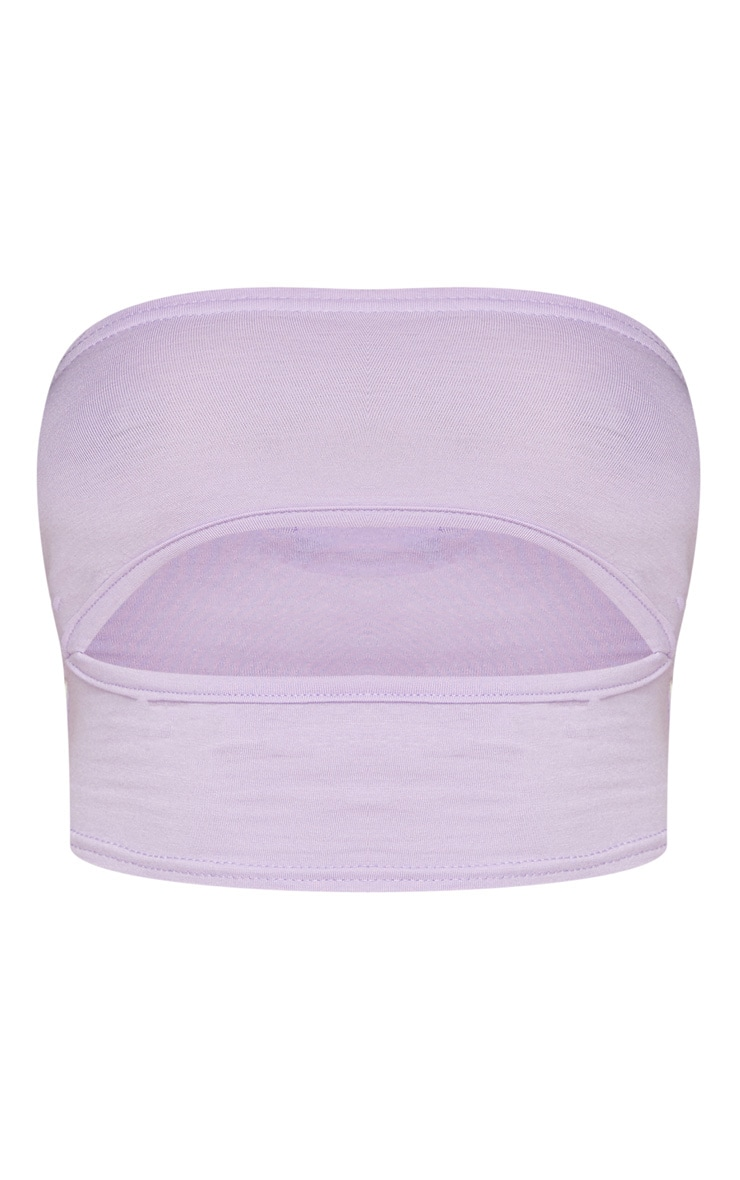 Lilac Jersey Bandeau Underbust Cut Out Crop 5
