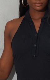 Black Rib Halterneck Button Detail Bodycon Dress 4