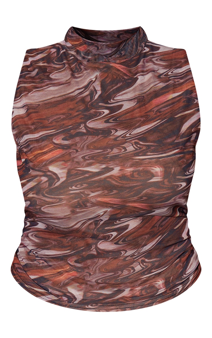 Plus Brown Abstract Print Mesh Double Layered High Neck Sleeveless Top 5