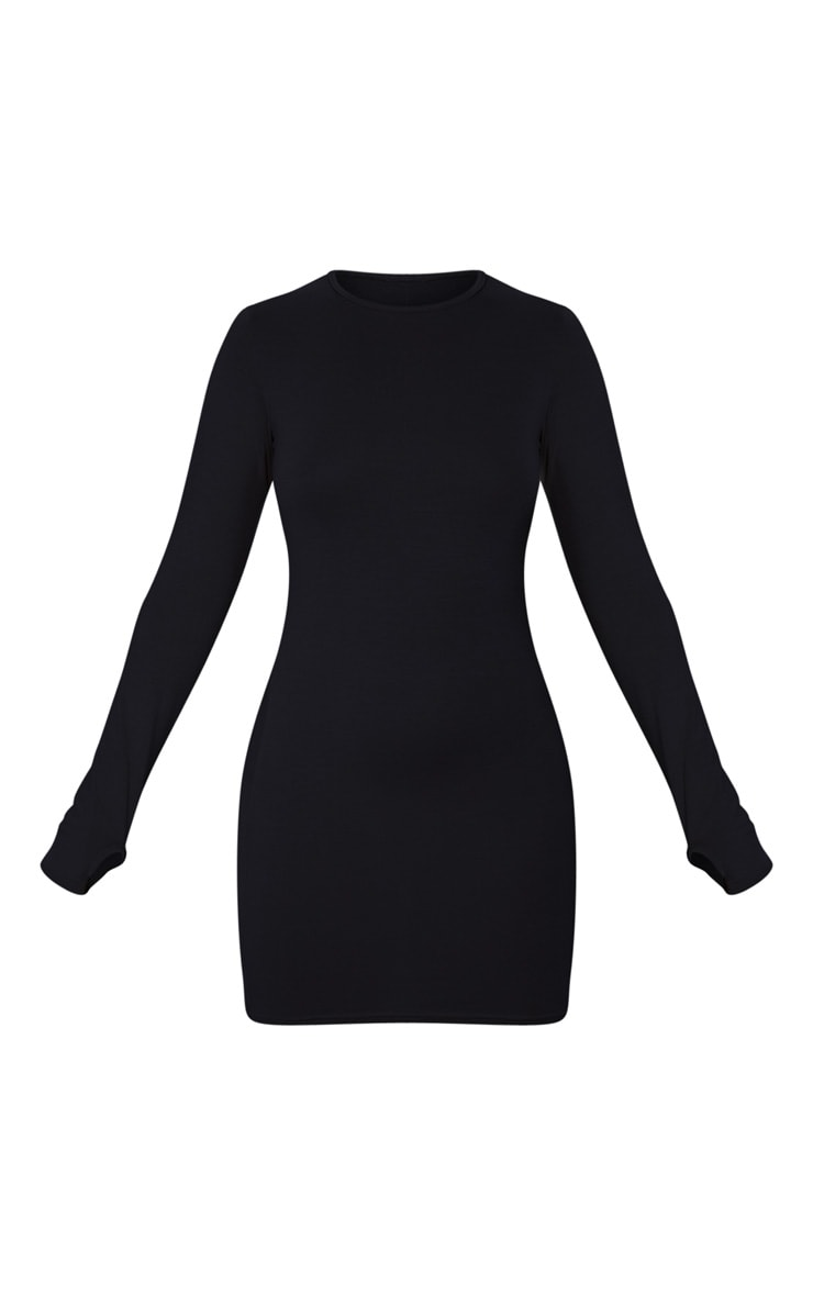 Petite Black Jersey Thumb Hole Long Sleeve Dress 5