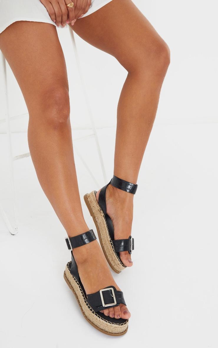 Black PU Croc Buckle Detail Espadrille Sandals 2