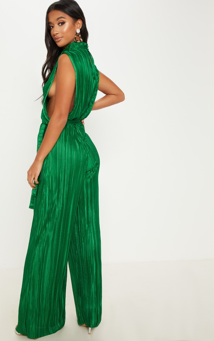 Petite Emerald Green Plisse Tie Waist High Neck Sheer Jumpsuit 2