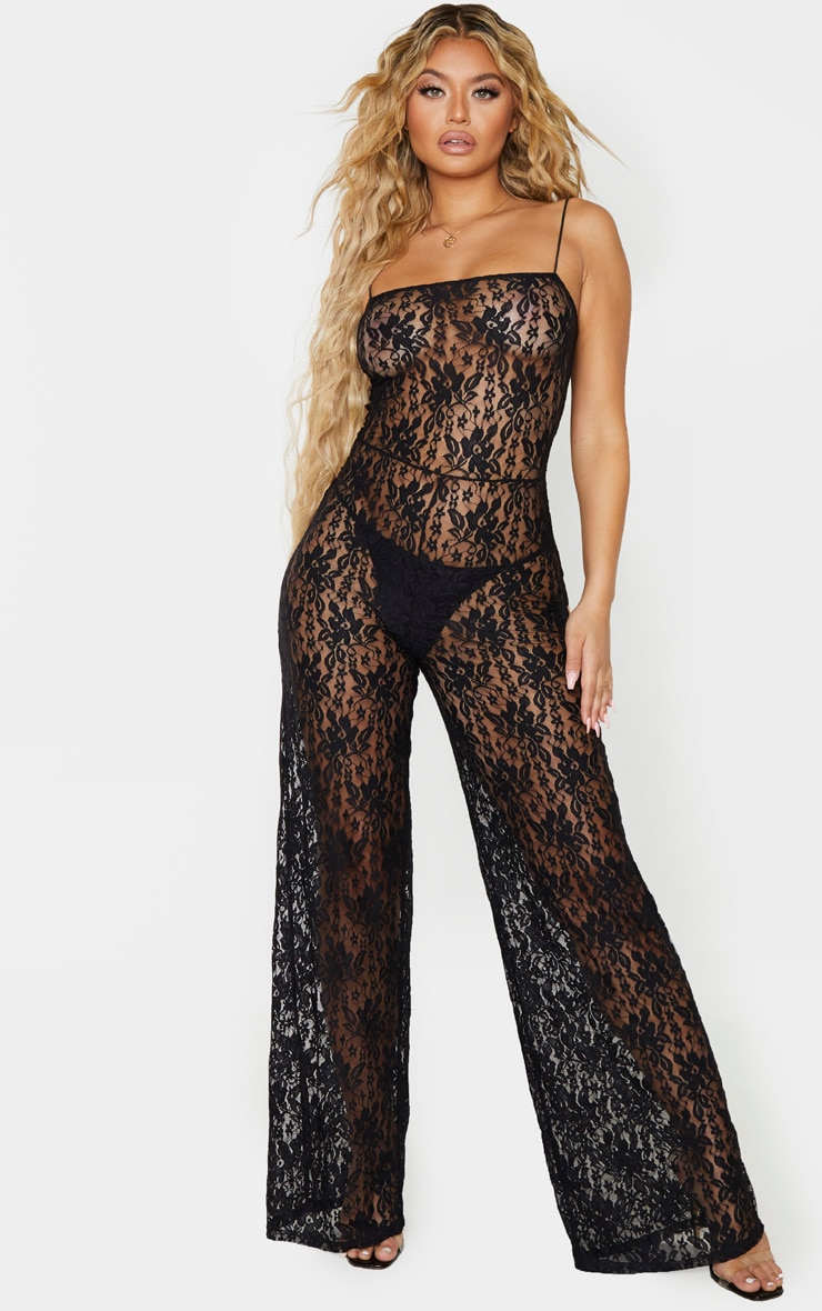 Black Sheer Lace Strappy Jumpsuit 4