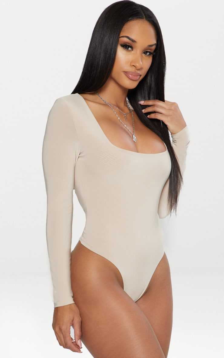 Stone Second Skin Square Neck Thong Bodysuit  2
