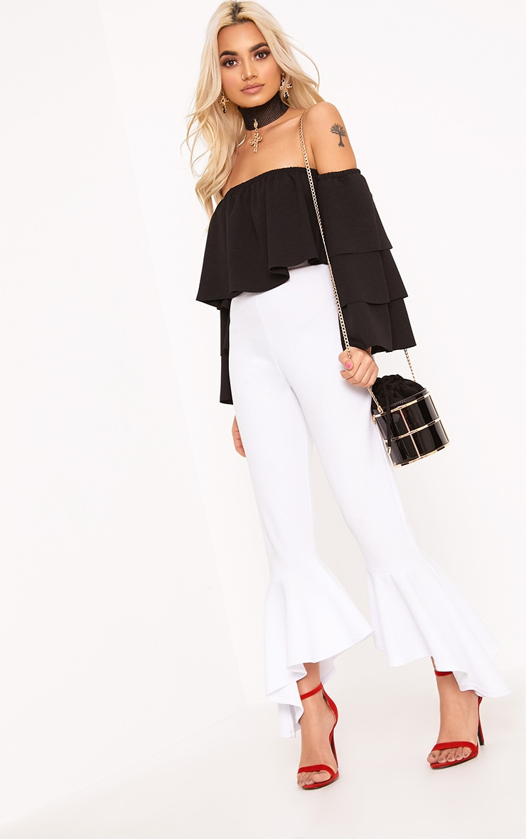 Black Bardot Layered Frill Sleeve Crop Top 4