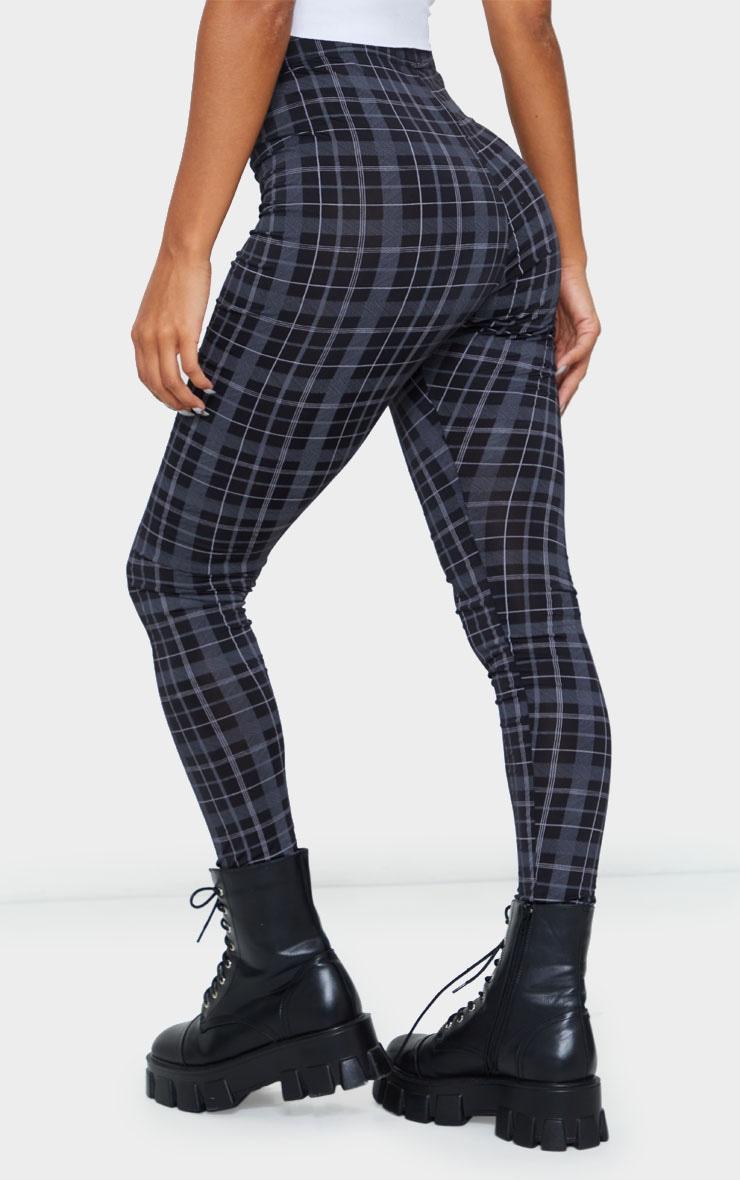 Black Printed Check Leggings 3
