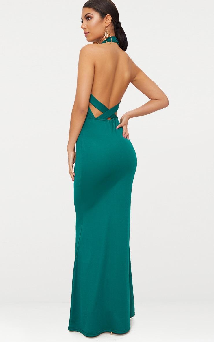 Emerald Green Cross Back High Neck Maxi Dress 2