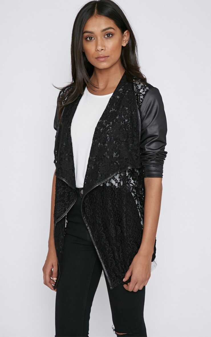 Stevie Black Lace Leather Sleeve Waterfall Jacket 3