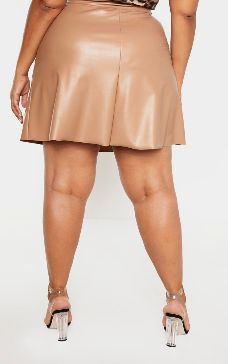 Plus Taupe Faux Leather Belted Skater Skirt  4