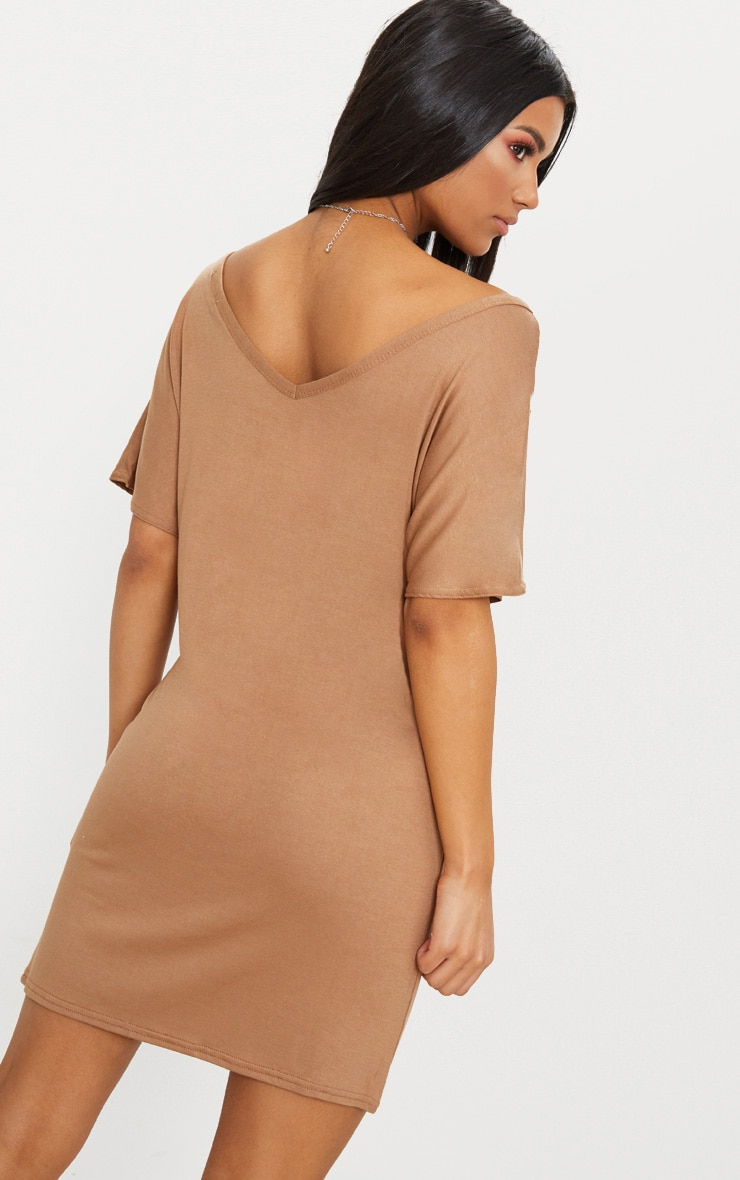 Basic Camel V Neck T Shirt Dress 2