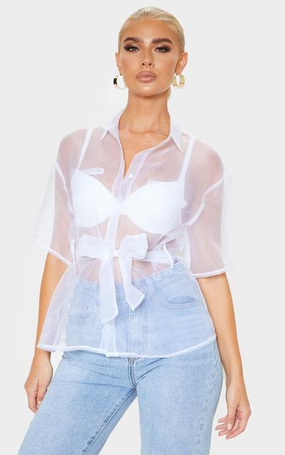 White Sheer Short Sleeve Tie Detail Shirt