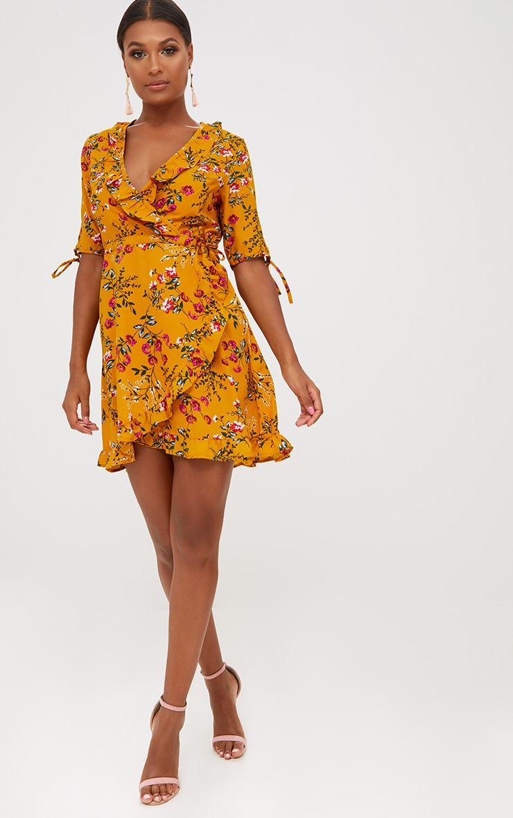Mustard Floral Frill Wrap Dress 4