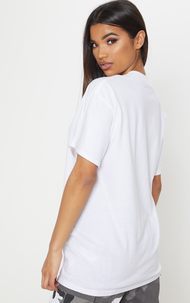 PRETTYLITTLETHING White Slogan Oversized T Shirt  2