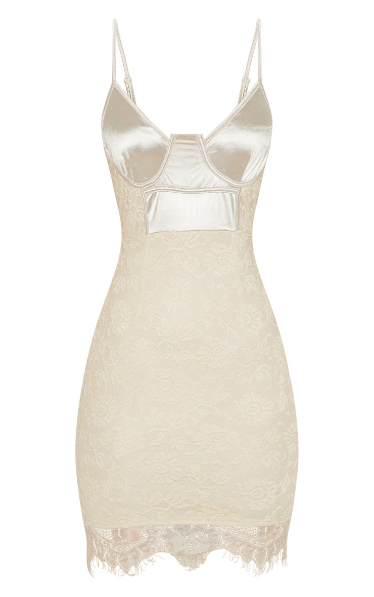 Nude Satin Top Bustier Lace Bodycon Dress 3