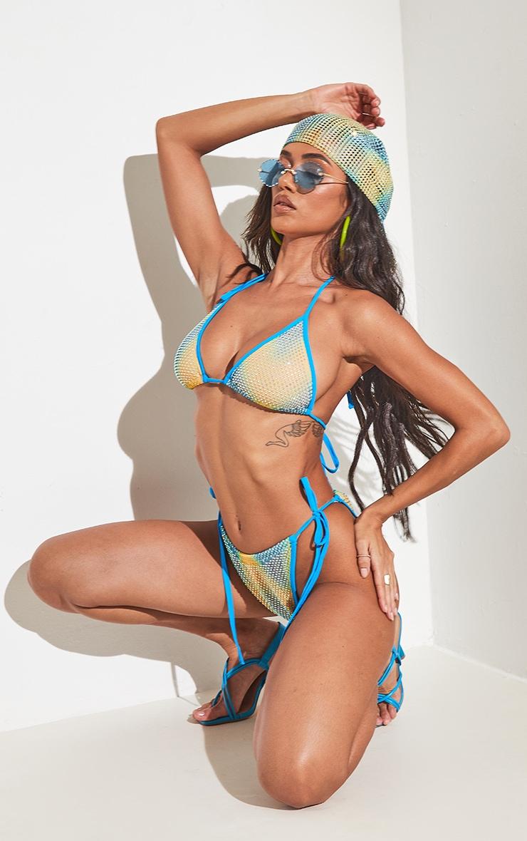 Turquoise Diamante Triangle Bikini Top 6