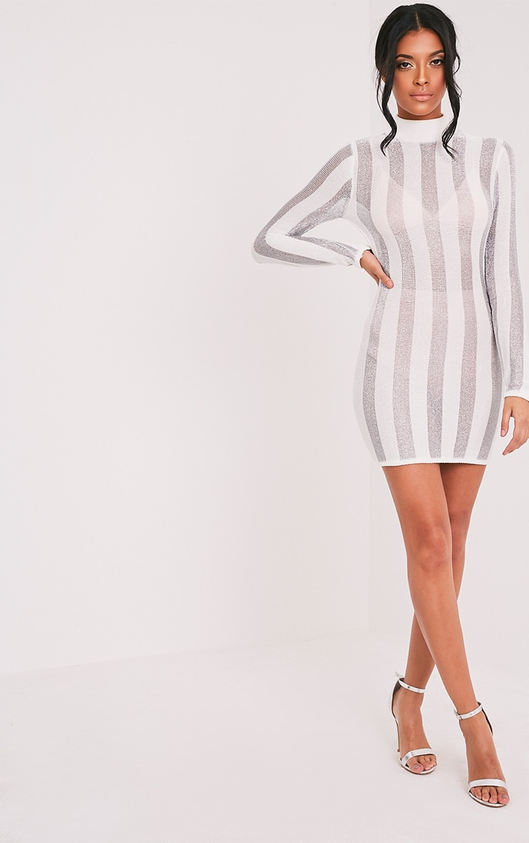 Amias robe mini blanc métallisé extra-fine à rayures 5