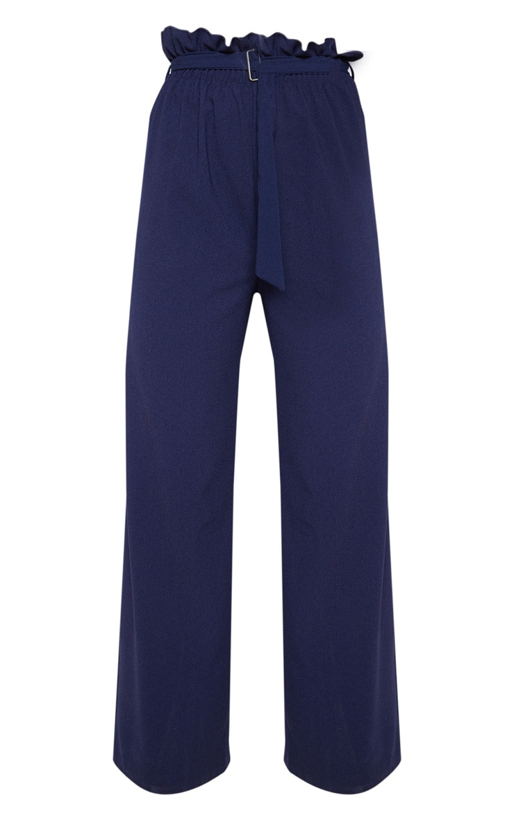 Navy Paperbag Waist Cropped Pants  3