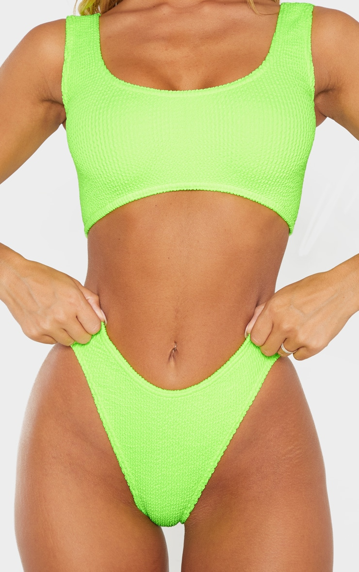 Neon Lime Crinkle Deep Scoop Bikini Top 5