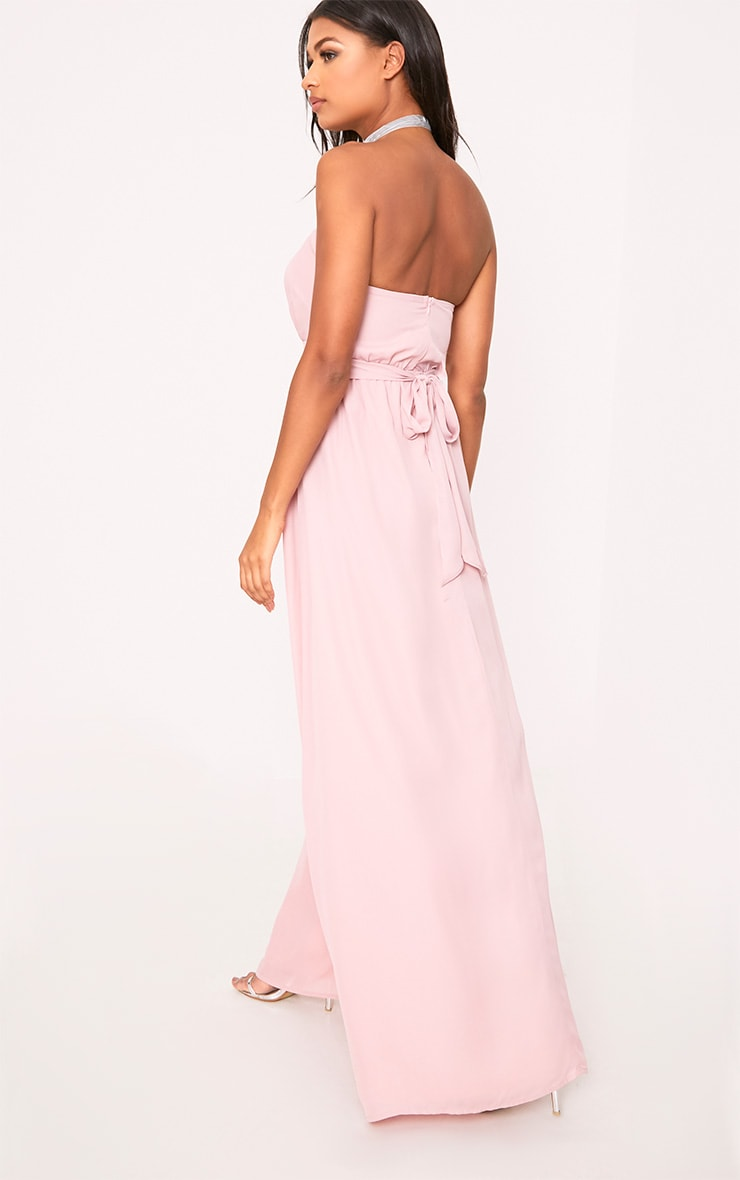 Lainey Dusty Pink Bandeau Maxi Dress 2