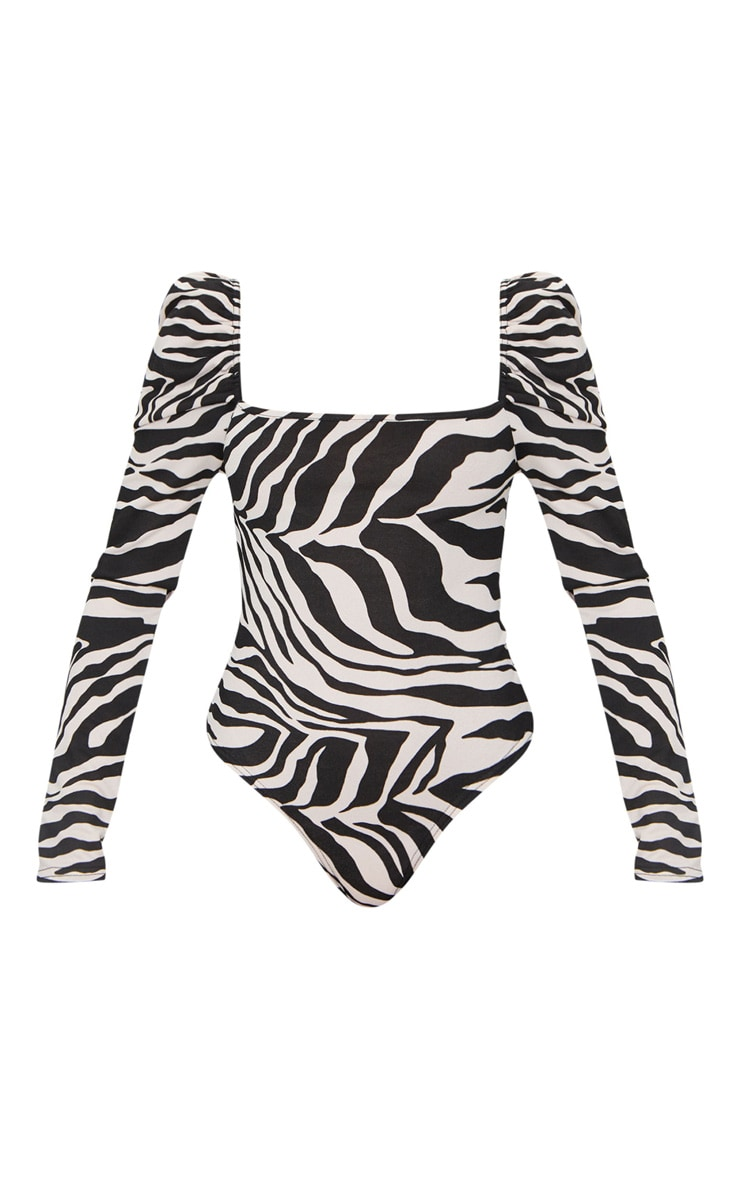 Nude Zebra Printed Square Neck Puff Sleeve Bodysuit 5