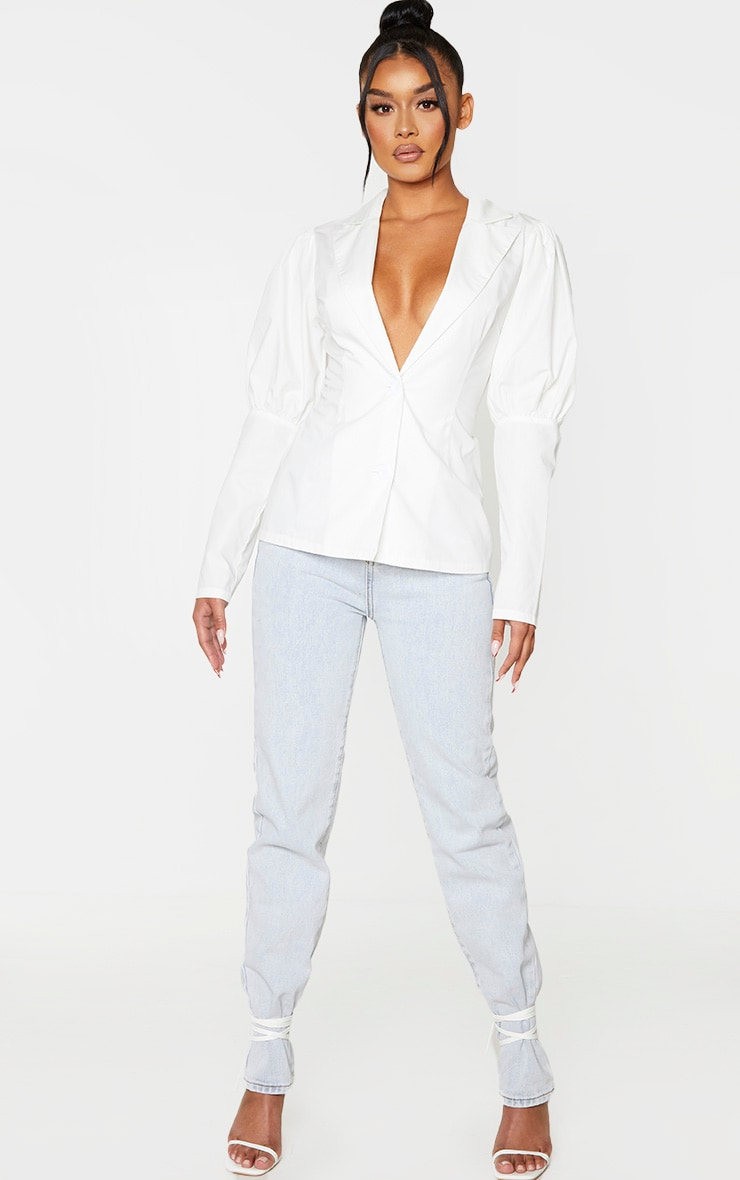 White Woven Puff Sleeve Button Front Shirt 3