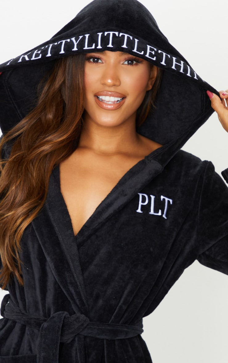 PRETTYLITTLETHING Black Hood Detail Towelled Dressing Gown 4