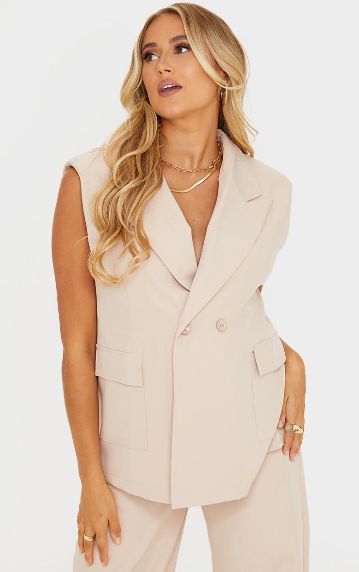Maternity Cream Sleeveless Suit Blazer 1
