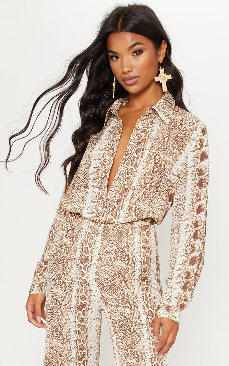 Brown Snake Print Oversized Shirt 1