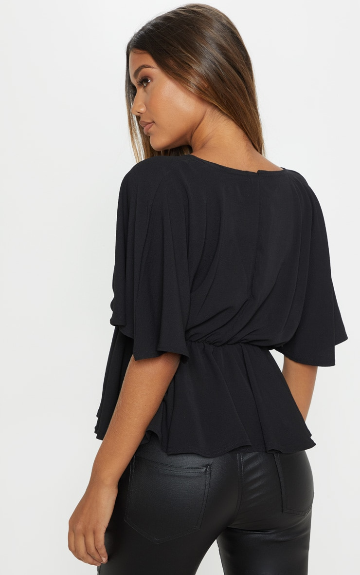 Black Chiffon Plunge Short Sleeve Peplum Top 2
