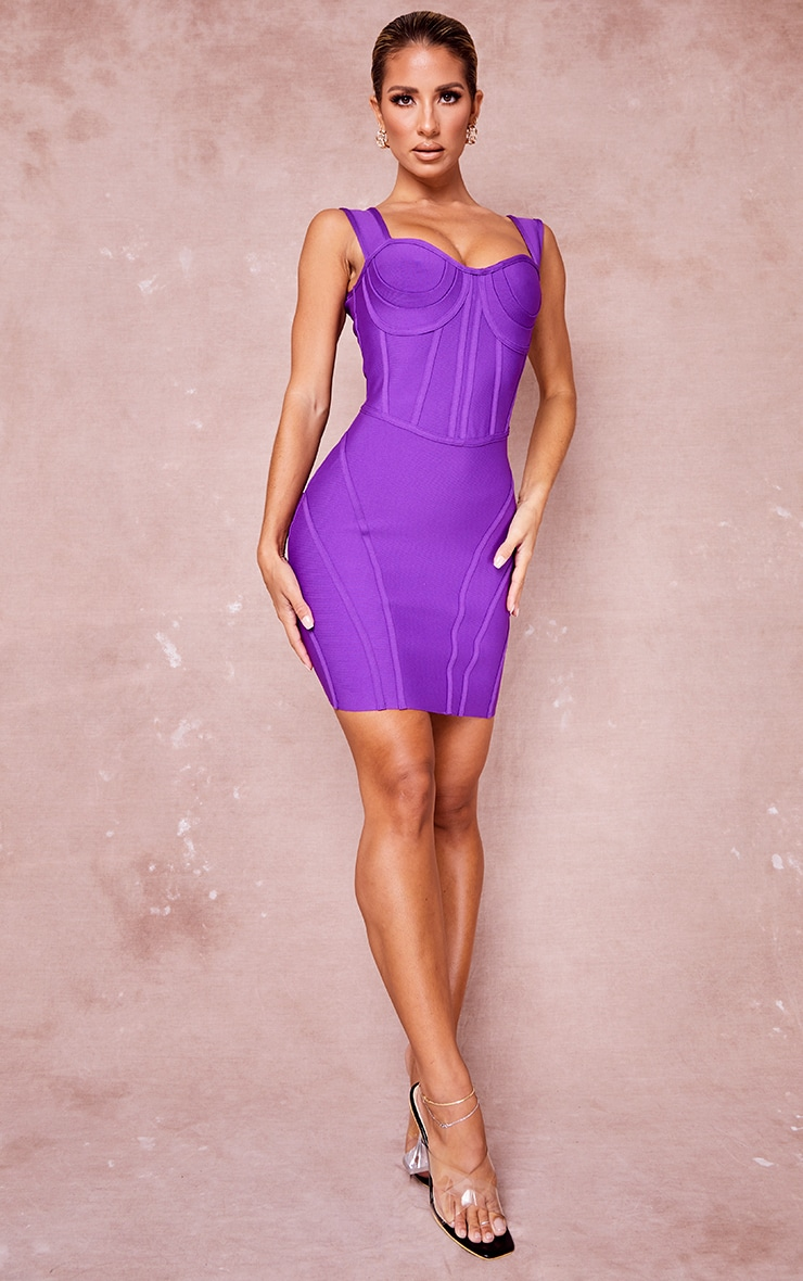 Purple Bandage Bust Detail Sleeveless Corset Bodycon Dress 3