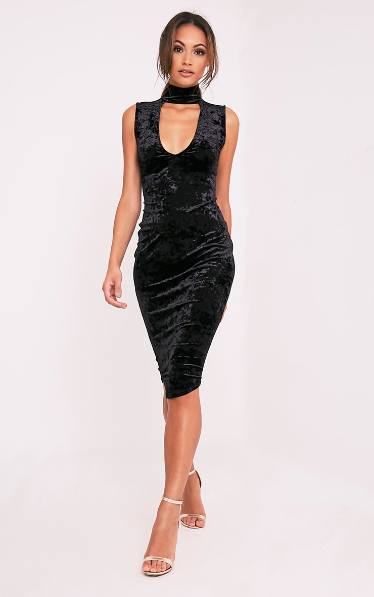 Freah Black Crushed Velvet Choker Neck Midi Dress 5