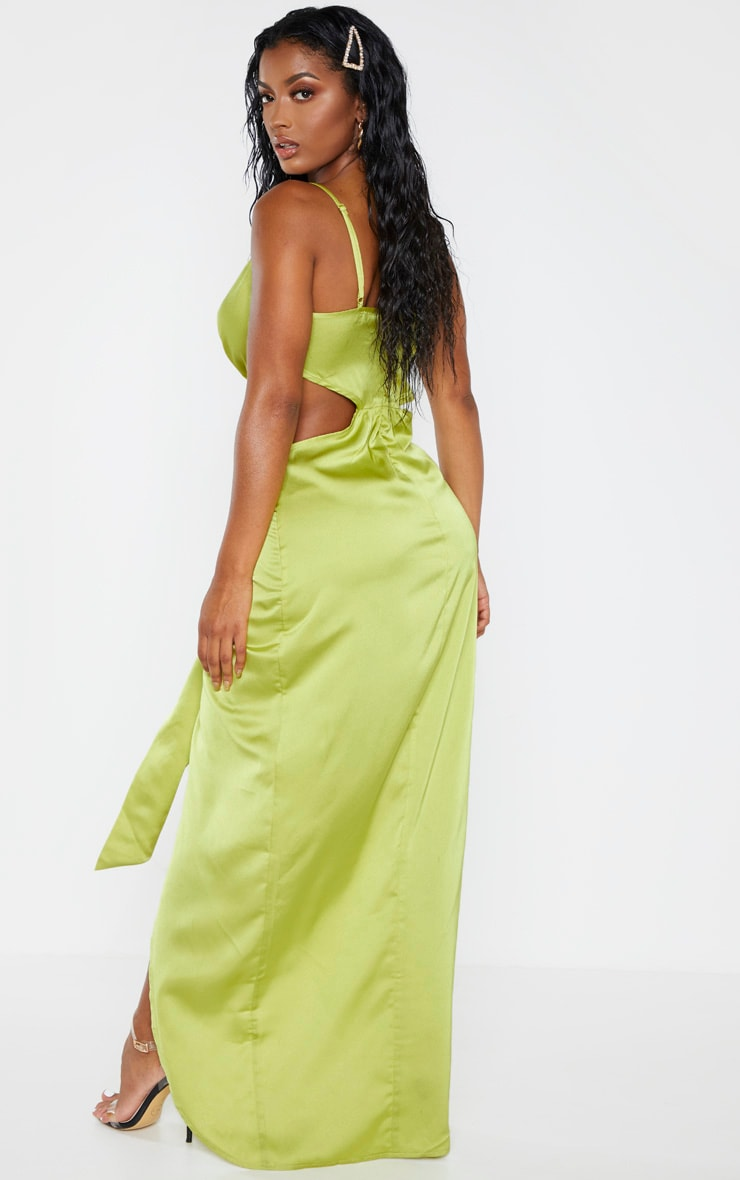 Shape Chartreuse Cut Out Drape Front Maxi Dress 2