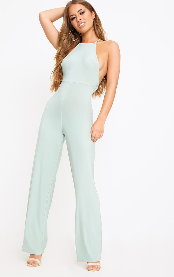 Petite Sage Green Tie Back Strappy Jumpsuit 4